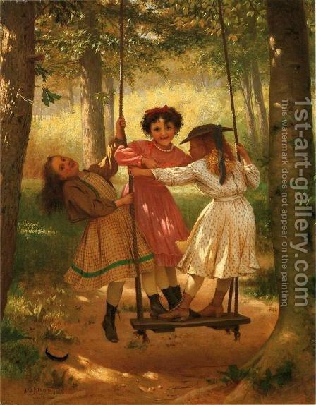Three Girls on a Swing by John George Brown - Reproduction Oil Painting