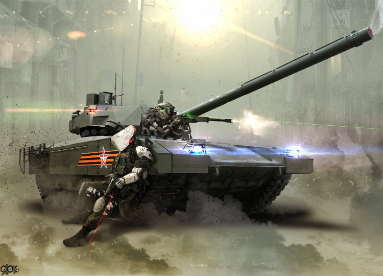Phác họa siêu tăng chiến đấu chủ lực T-14 Armata của Nga trong tương lai.