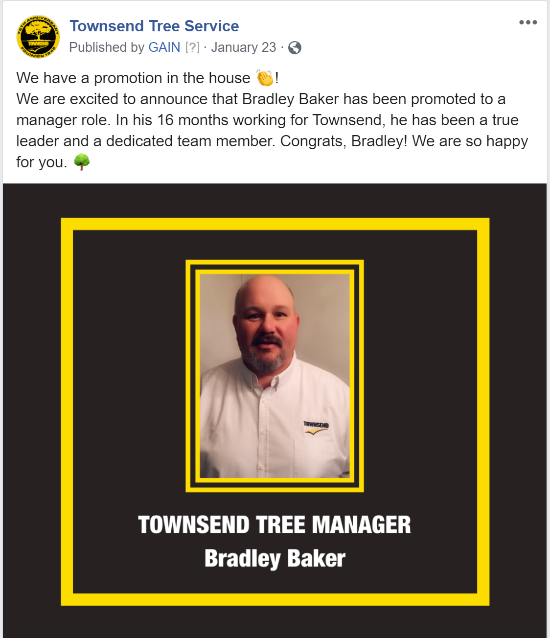 facebook post announcing a promotion