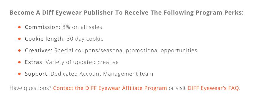 Diff Eyewear Affiliate Program Details