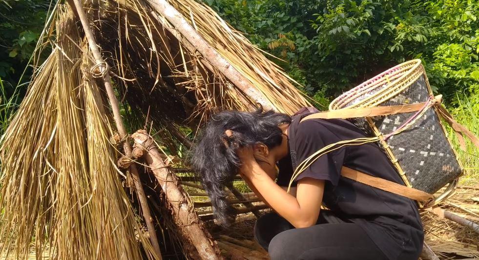 Sabahan girl climbed up a tree