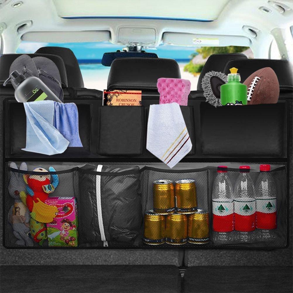 Organizador de malla para coche organizador de almacenamiento de 3 capas barrera para ni/ños y mascotas KITBEST bolsa de red para el asiento trasero 2 unidades bolso de tela de carga