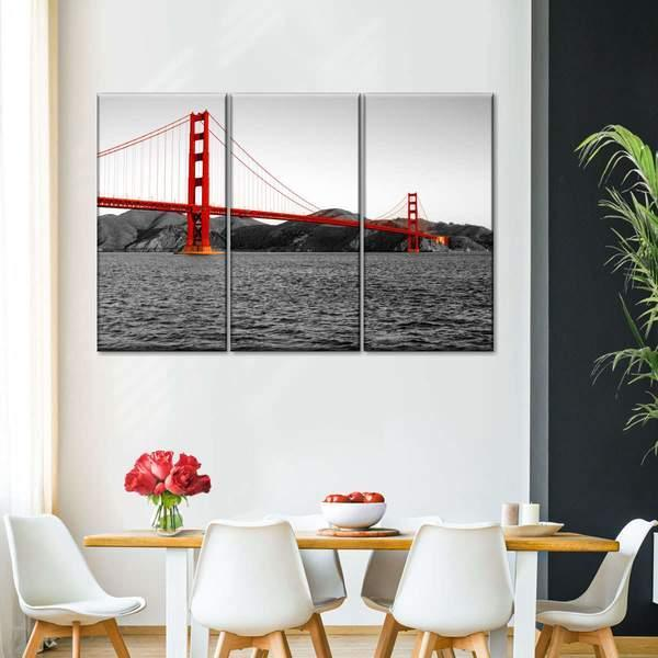 San Francisco Bridge BW Pop Multi Panel Canvas Wall Art