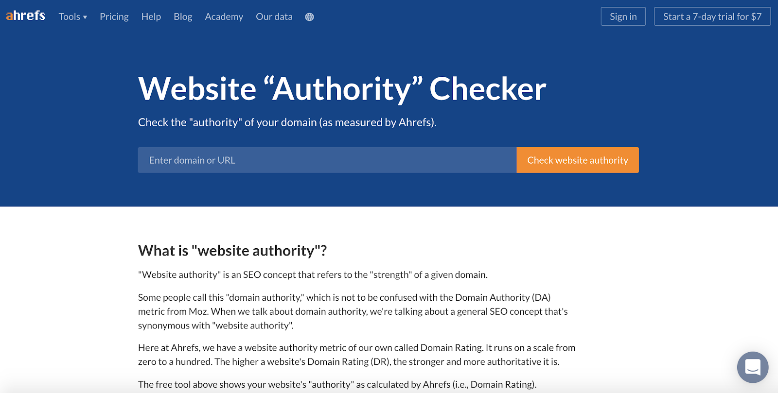 ahrefs website authority checker