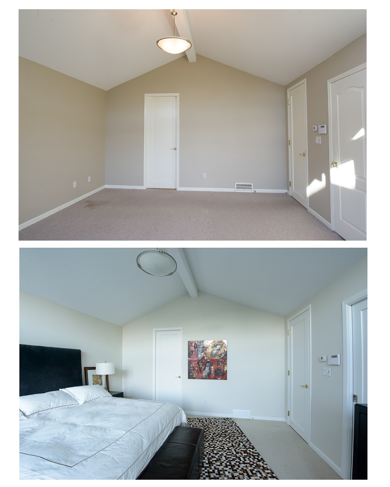 Before room with dark interior paint colour and after with light colour.