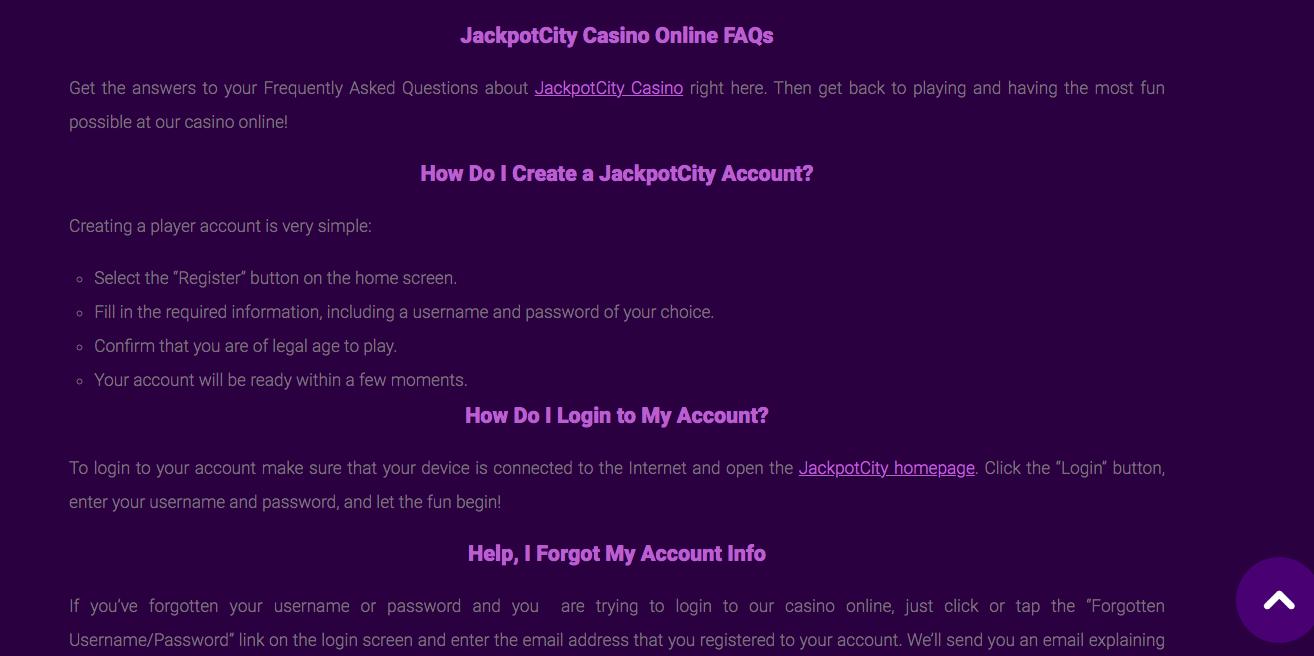 Jackpot City FAQs