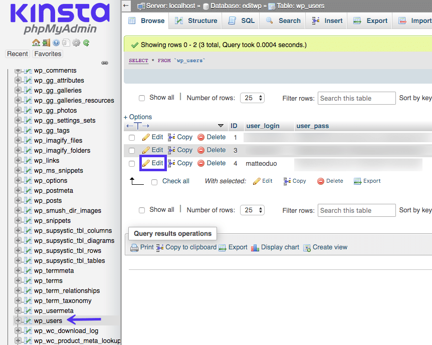 Change your username through the database