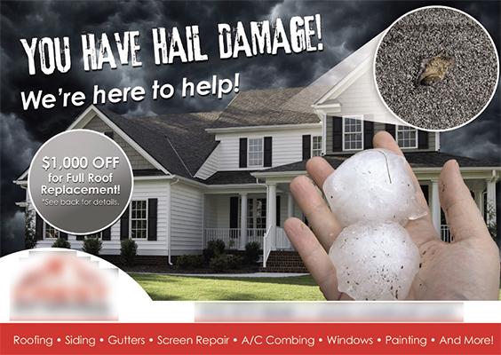 roofing damage postcards