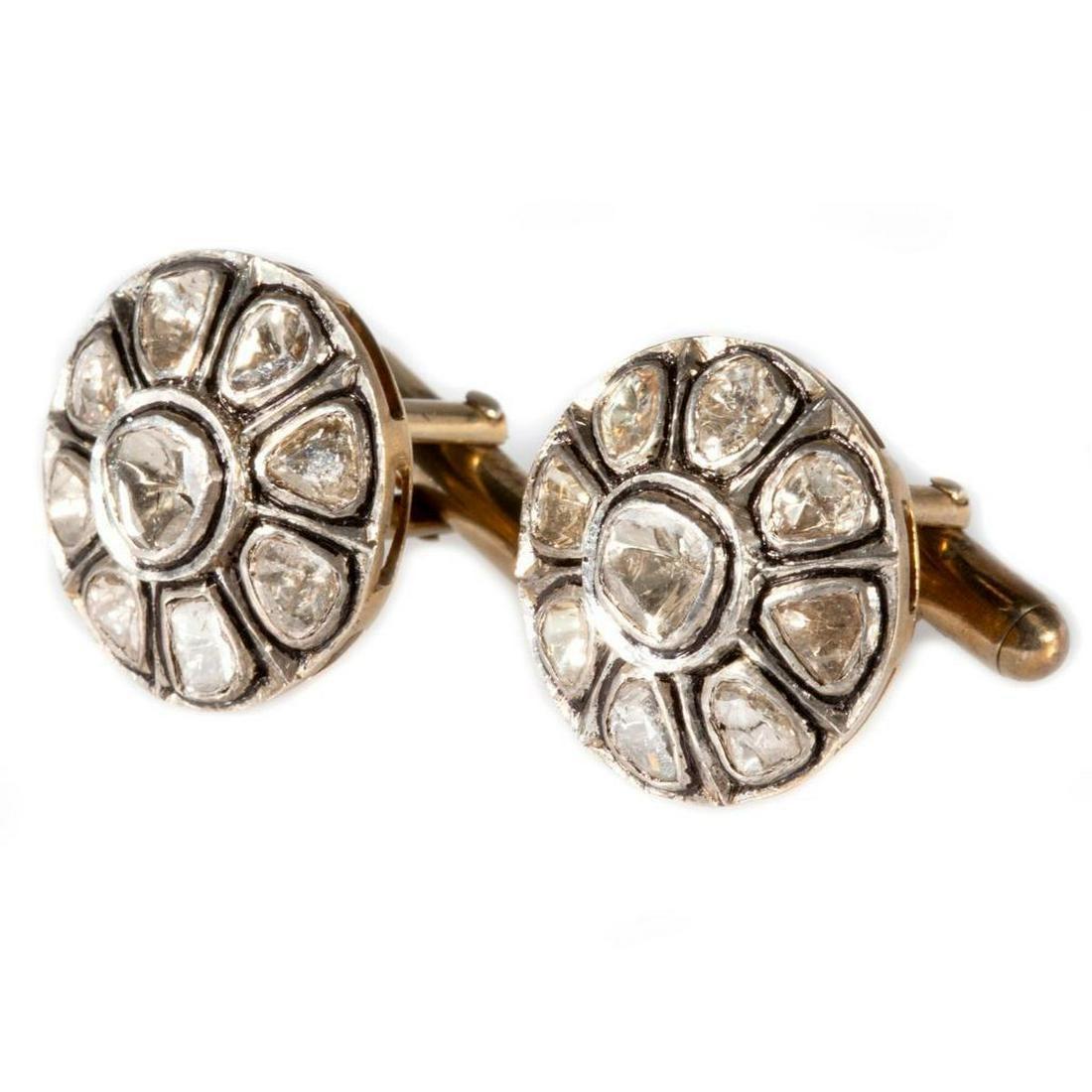 Diamond and vermeil silver cufflinks