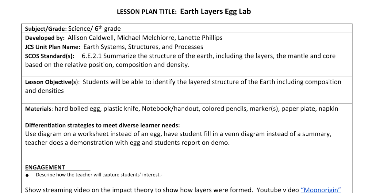 Earth Layers Egg Lab Lesson Plan 11813 Google Docs – Earth Structure Worksheet