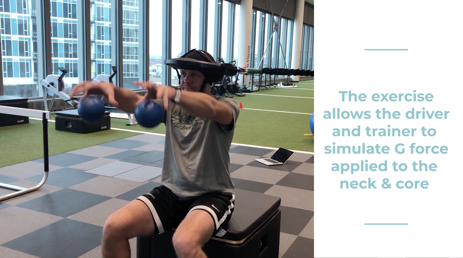 The exercise allows the driver and trainer to simulate G force applied to the neck & core incorporating Iron Neck. IndyCar driver Ed Carpenter.