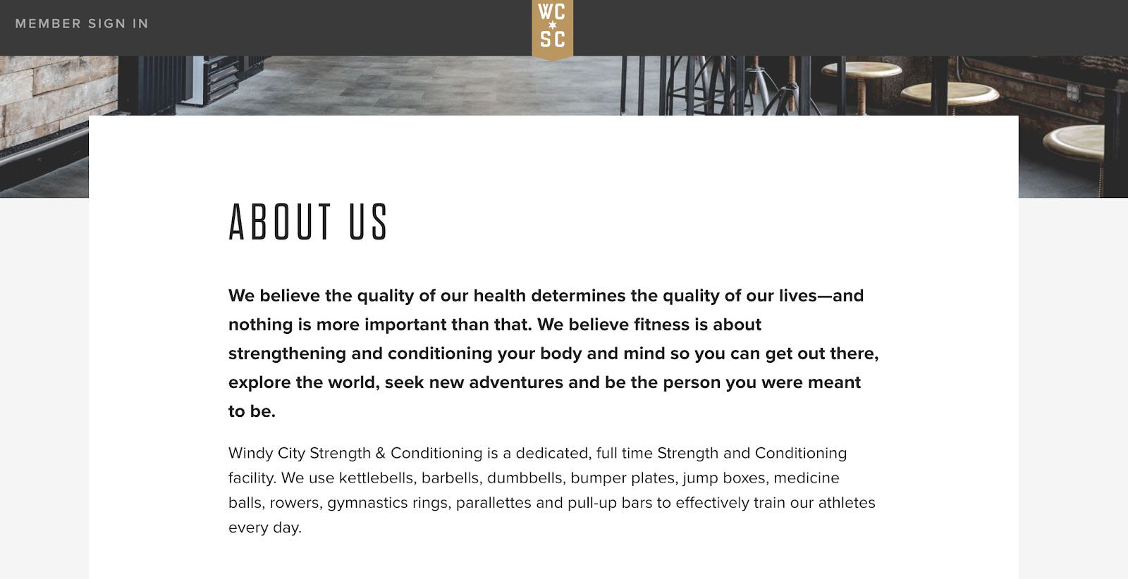 about us page on Windy City Strength and Conditioning