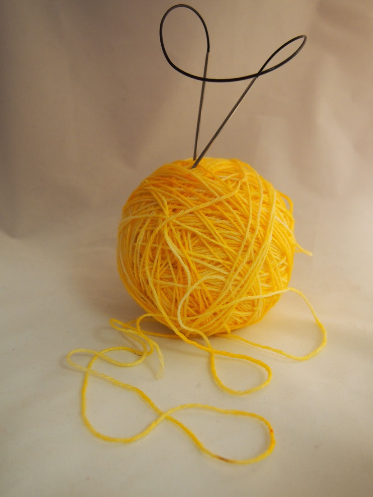 Sock yarn in a ball with circular needles