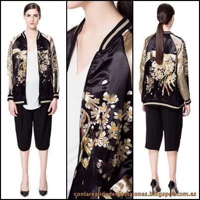 Zara bomber bordada con contrastes