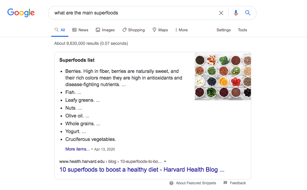 featured snippet result