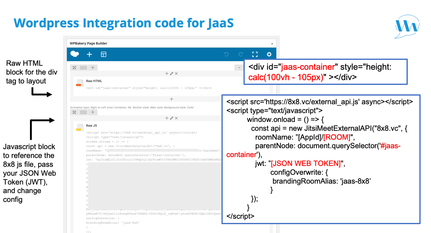 Wordpress integration code for JaaS