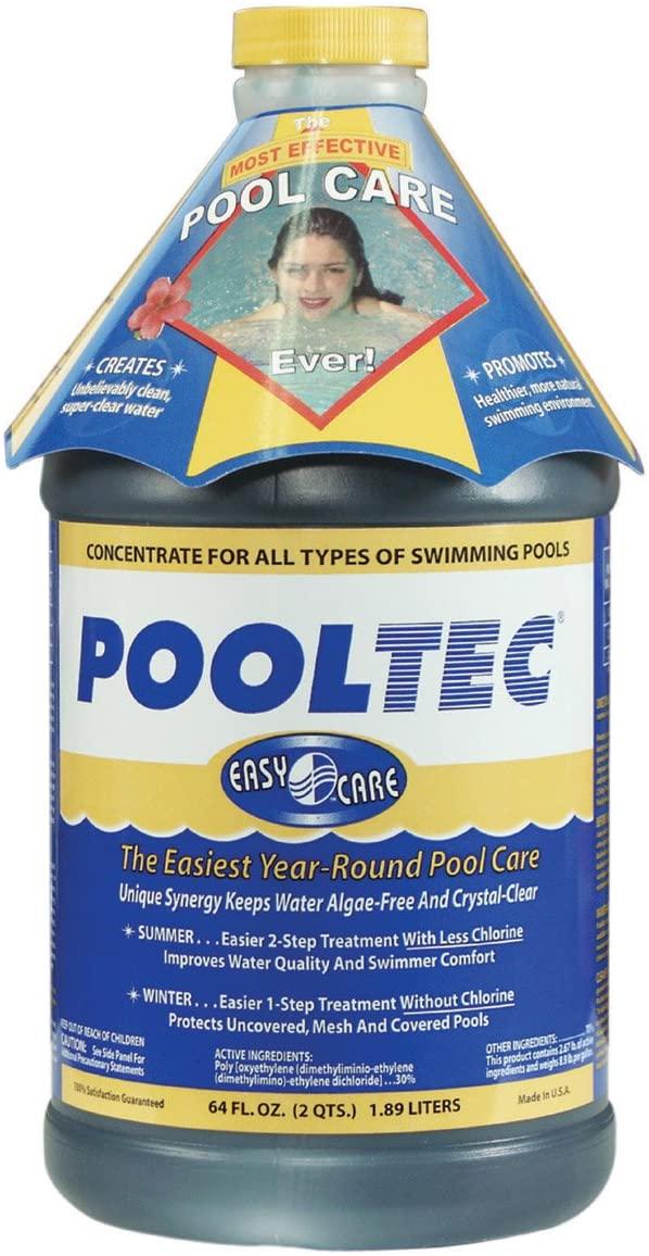 a jug of PoolTec algaecide for swimming pools