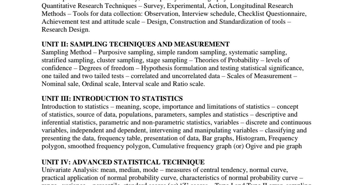 Inferential Statistics Techniques
