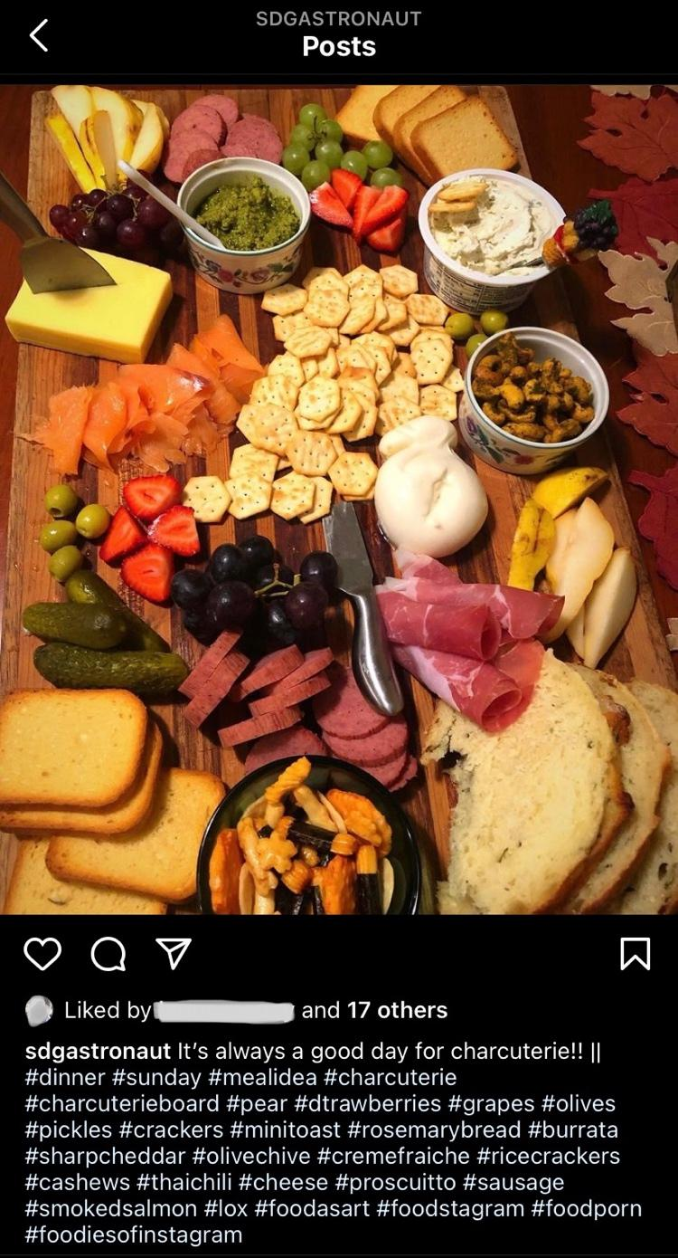 charcuterie board on IG