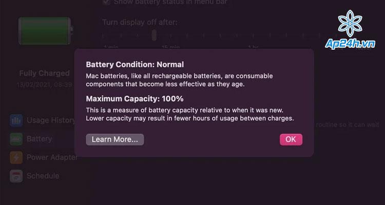 kiểm tra tình trạng pin MacBook M1