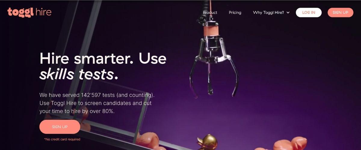toggl hire homepage