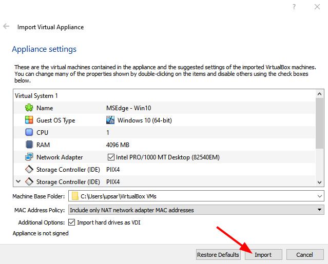 Virtual Hacking Lab - Import Windows 10 VM in VirtualBox. Source: nudesystems.com