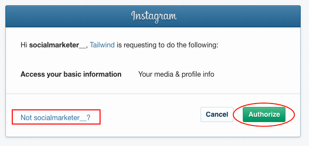 Tailwind connect to Instagram