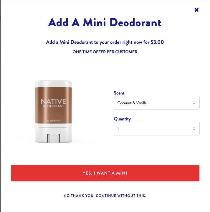 Native deodorant upsells a mini version of their deodorant using CartHook.