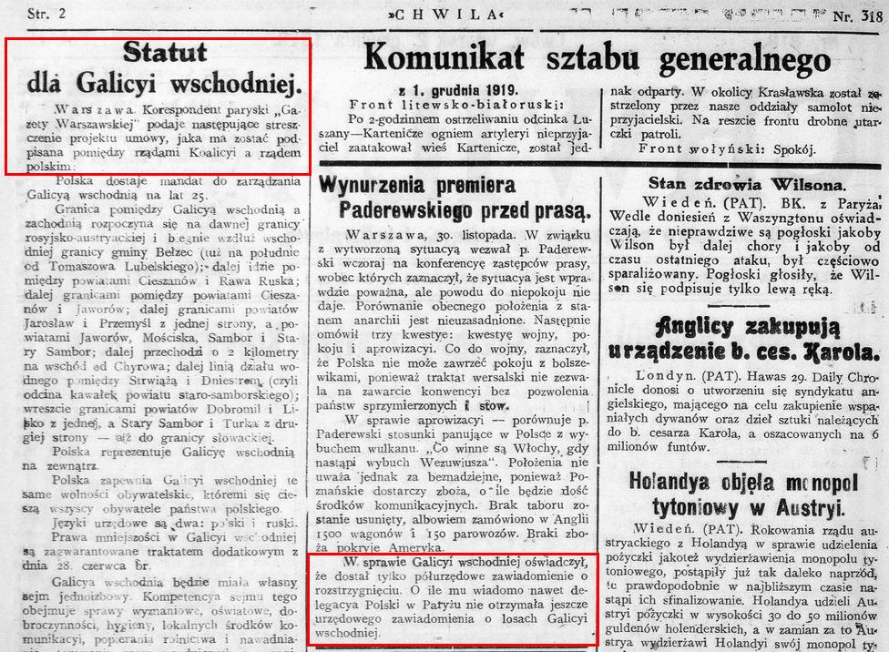 """Положення Статуту для Східної Галичини, викладені у львівській газеті """"Хвиля"""" за 2 грудня 1919 р. Це передрук інсайдерської інформації паризького кореспондента """"Газети Варшавської"""". У сусідній колонці газети зазначається, що польський прем'єр Падеревський ще не отримав офіційного рішення про Статут"""