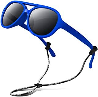RIVBOS Rubber Kids Polarized Sunglasses with Strap