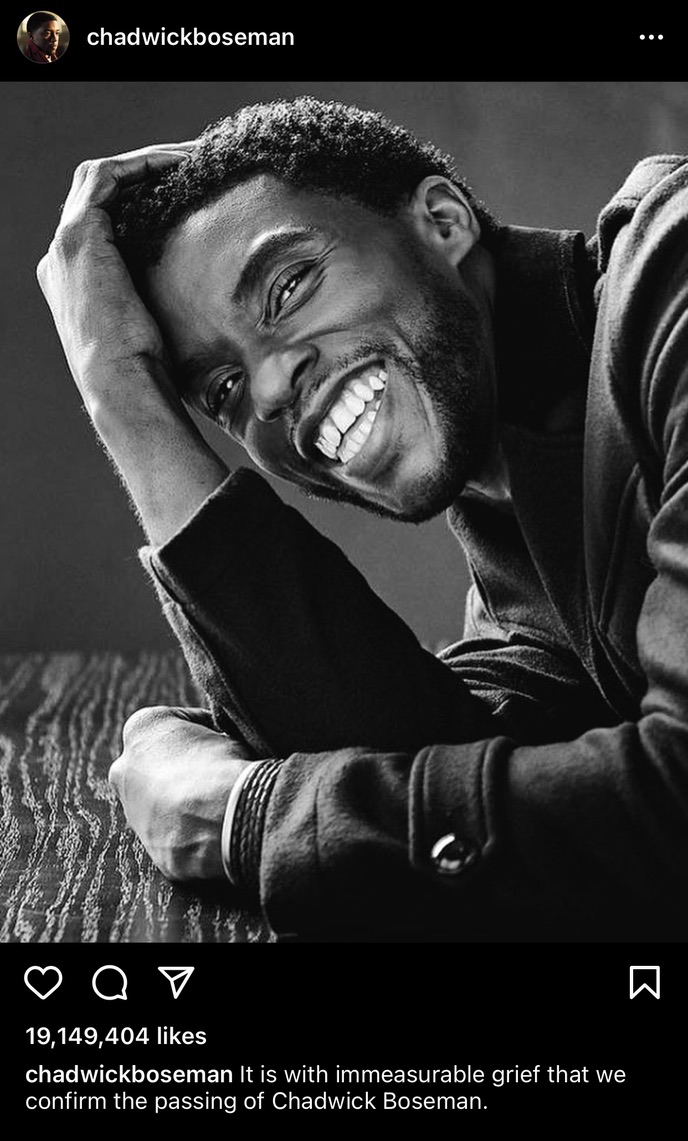 Chadwick Boseman's death announcement post