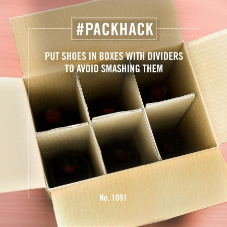 #packhack no. 1091 - put shoes in boxes with dividers to avoid smashing them