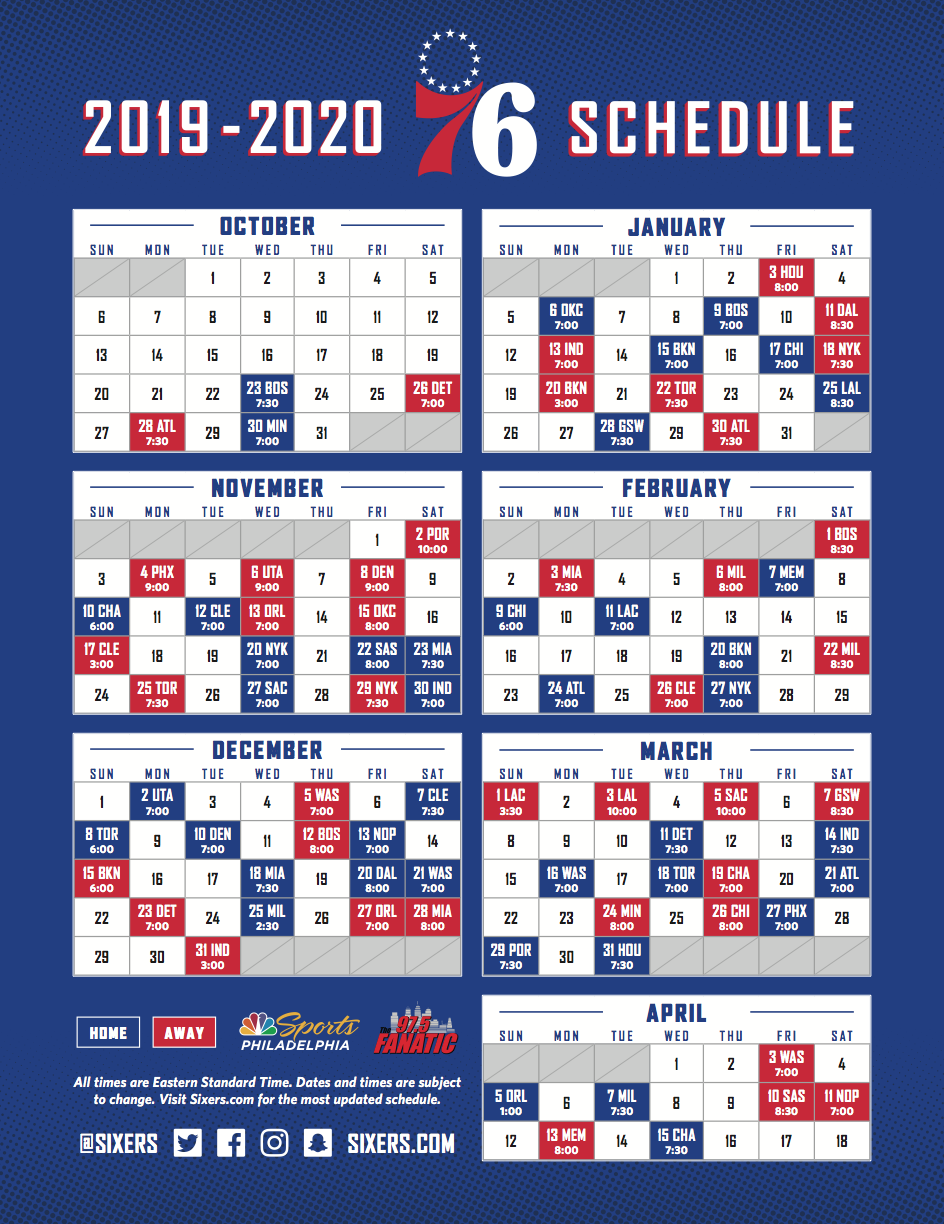 picture about 76ers Printable Schedule identify Employees Announces 2019-20 Month to month Time Program
