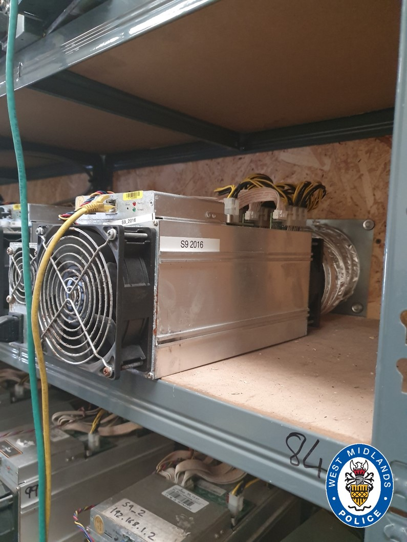 Police uncovered 100 Bitcoin mining computers in a raid on a suspected cannabis grow-op. The devices have a profile consistent with Bitmain's Antminer series and the labels appear to indicate they are the now-outdated S9 model. The Bitcoin mine was found to be stealing their electricity from the grid.
