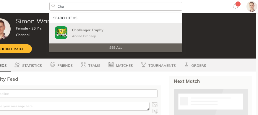 Search tournament software