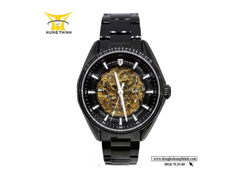 Một mẫu sản phẩm đồng hồ cơ lộ máy khác đến từ thương hiệu Olym Pianus với tông đen chủ đạo, làm cho phần máy lộ cực nổi bật (Chi tiết sản phẩm tại đây)