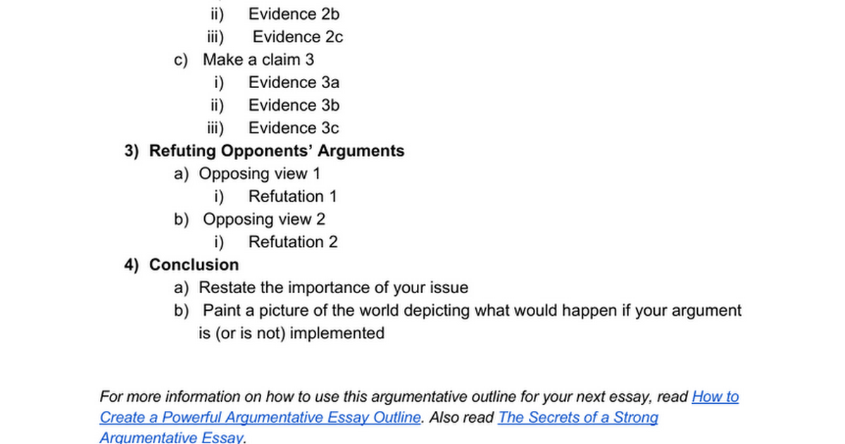 Argumentative Essay Outline  Google Docs