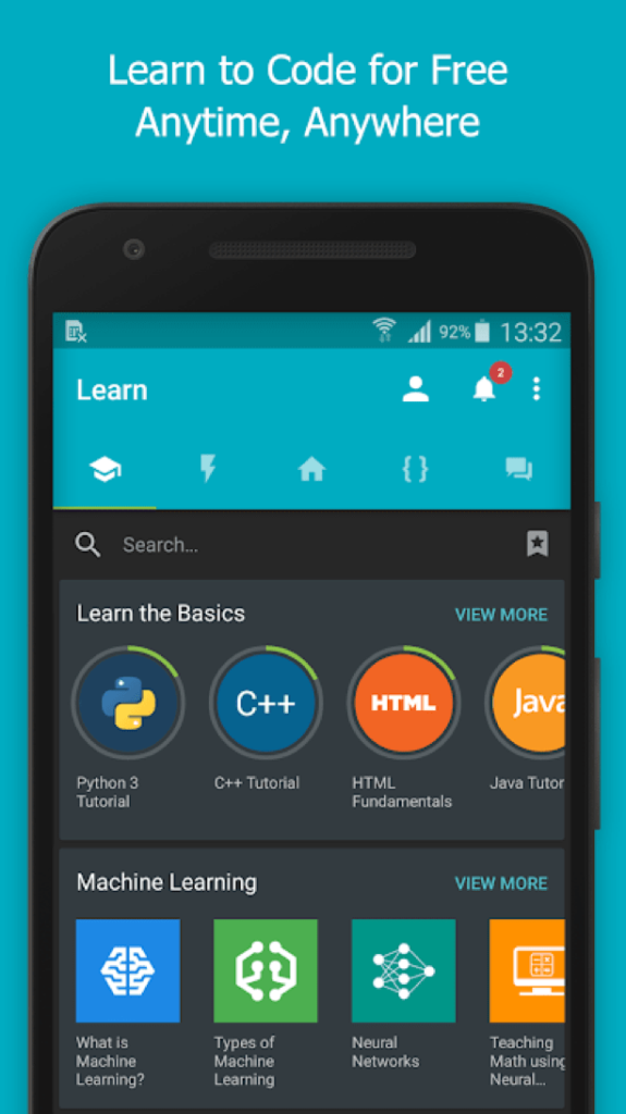 SoloLearn learn to code on mobile app.