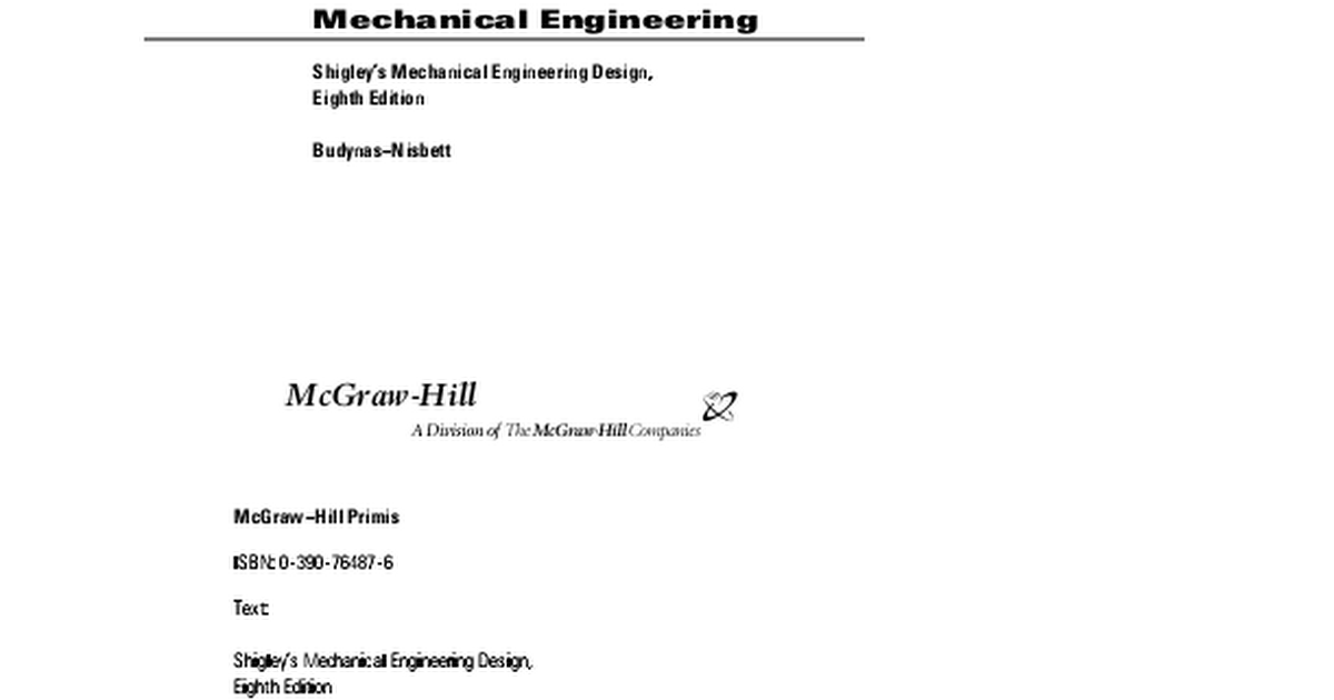 Shigley S Mechanical Engineering Design 8th Edition Pdf Google Drive