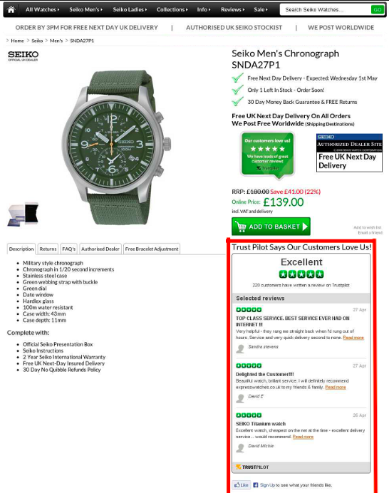 how Express Watches increased its sales by adding a customer review widget to their website