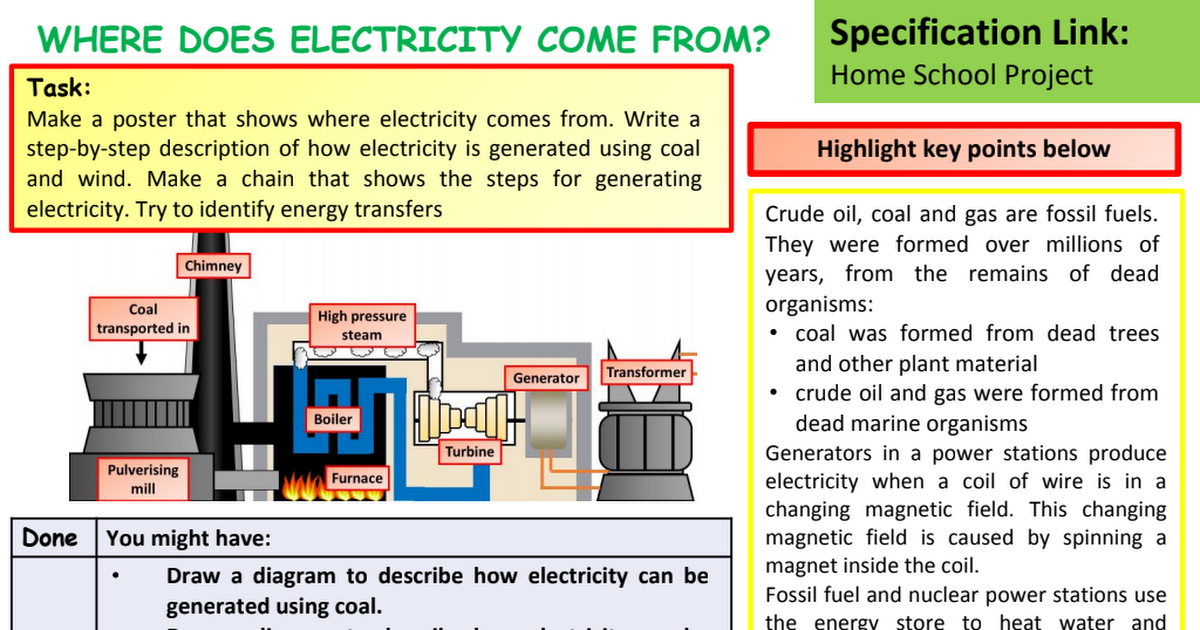 WHERE DOES ELECTRICITY COME FROM student sheet.pptx - Google Drive