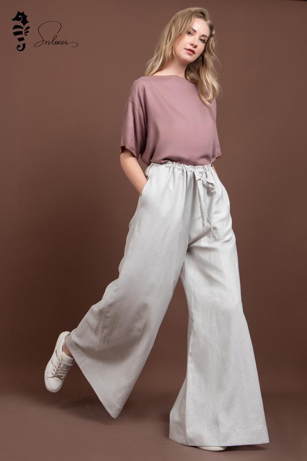 quần ống rộng vải mềm nữ