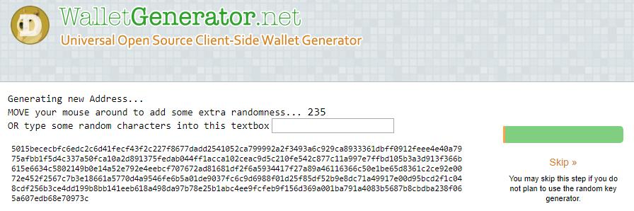 Trình tạo ví trực tuyến cho Dogecoin. Nguồn: WalletGenerator.net