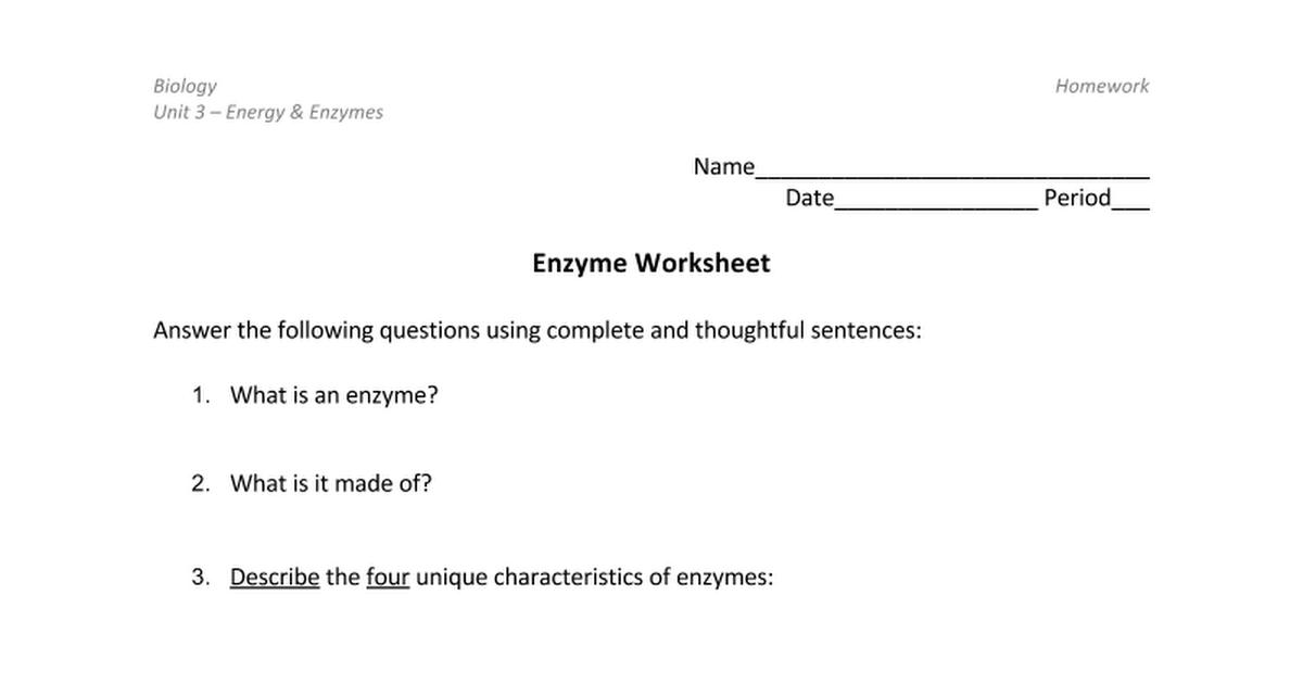 Enzyme worksheet Google Docs – Enzymes Worksheet
