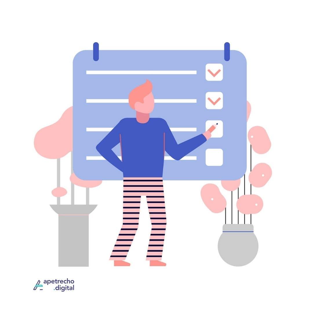 Ilustração de um homem em frente à uma lista mostrando ser organizado