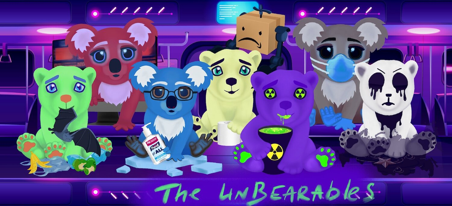 Olive Allen's collectible NFT bears are gamified and sold on the digital art market for Dai currency.