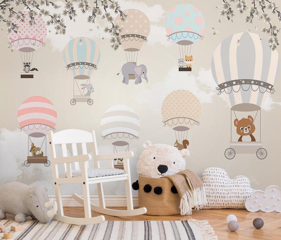 Фотообои с животными и воздушными шарами в детской комнате