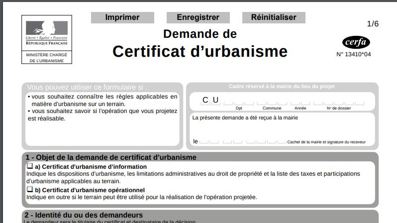 cerfa demande de certificat d'urbanisme