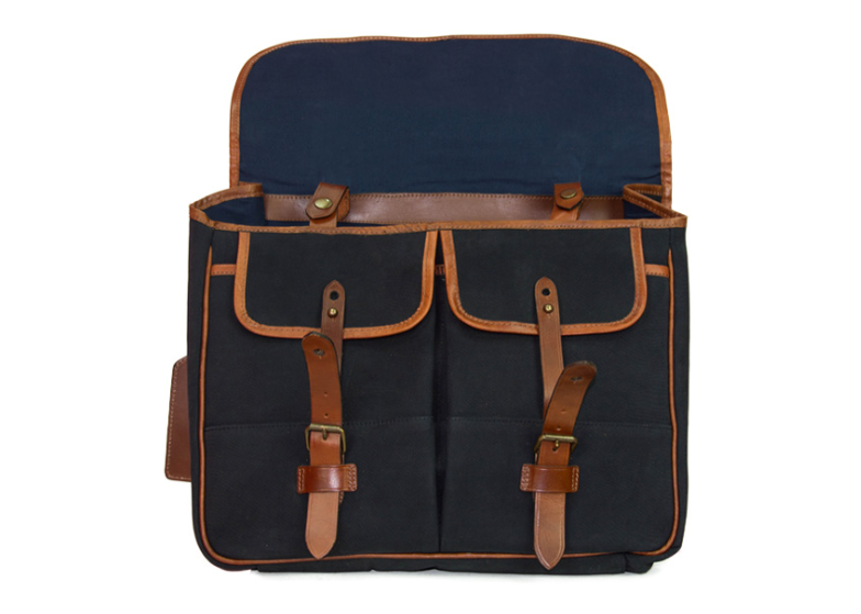 RALPH LAUREN MEN LEATHER-TRIMMED CANVAS MESSENGER BAG