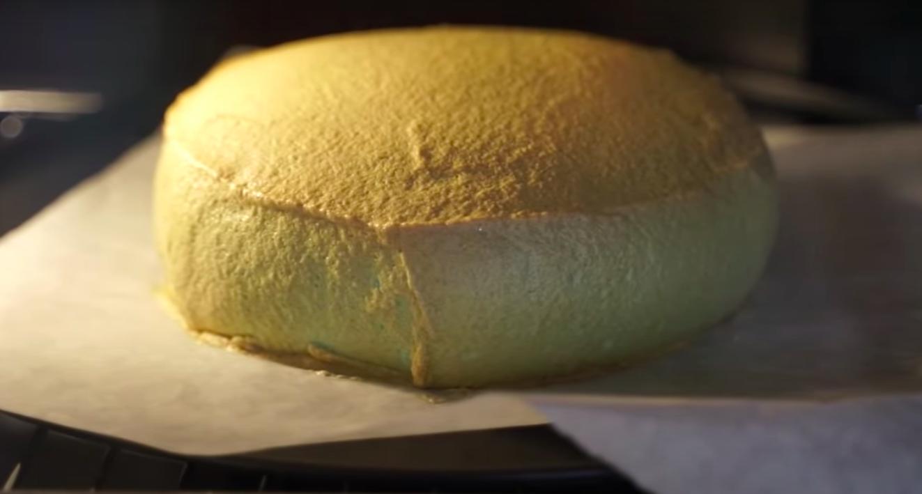 A golden brown baking cloud bread.